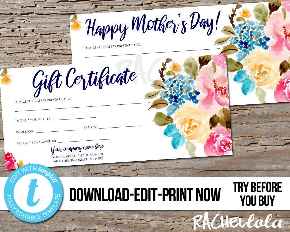 Editable Custom Printable Gift Certificate Template Floral Etsy Gift Certificate Template Printable Gift Certificate Printable Gift