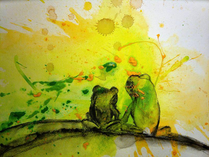 Froschbild auf Malpappe für alte Rahmen | Alte rahmen, Rahmen und ...