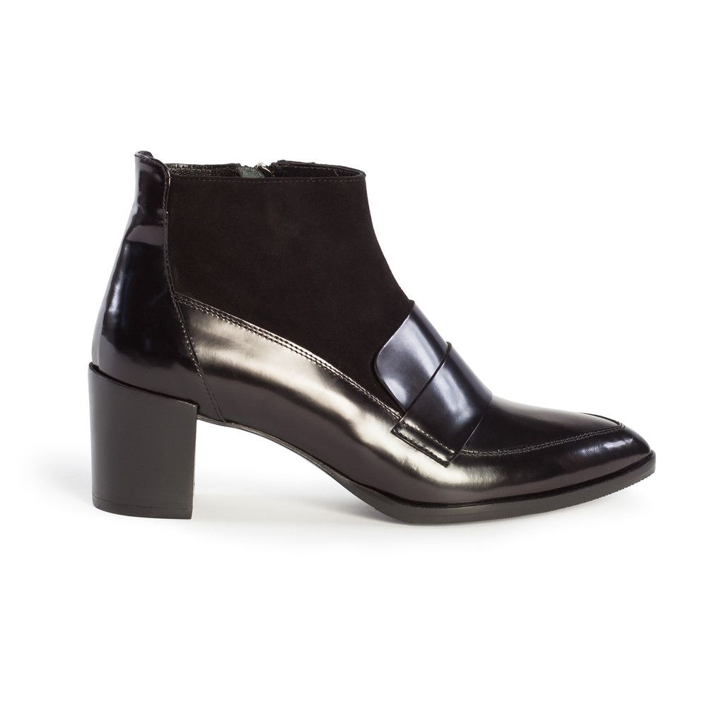 Black Spazzolato Leather/Suede Pointy Toe Ankle Sock Boots, Cindy, Italian Handmade | Autograf New York