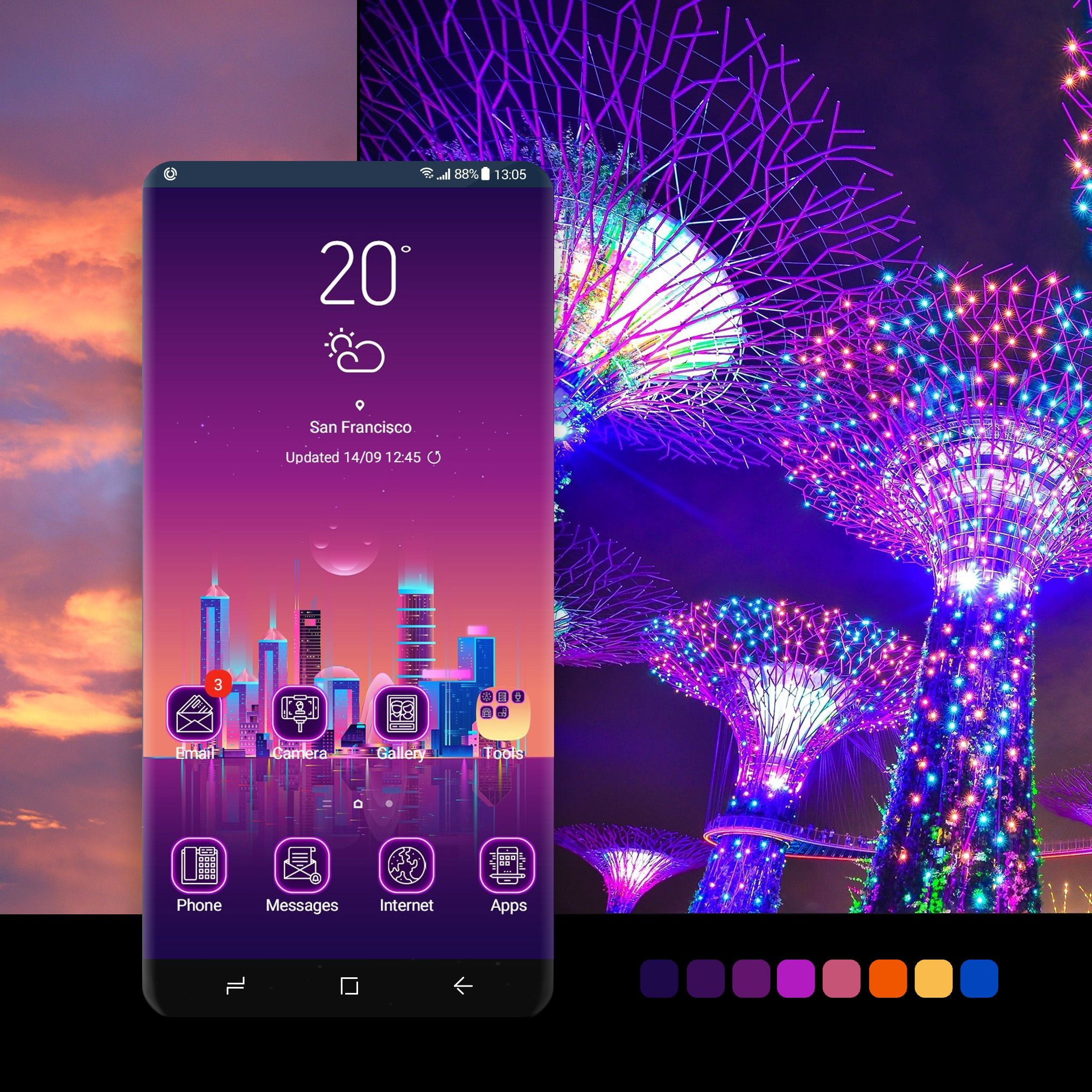 Neon City Theme Wallpaper Android Phone Smartphone Samsung Samsungthemestore Galaxy Samsunggalaxy Samsu Galaxy Theme Samsung Wallpaper Galaxy