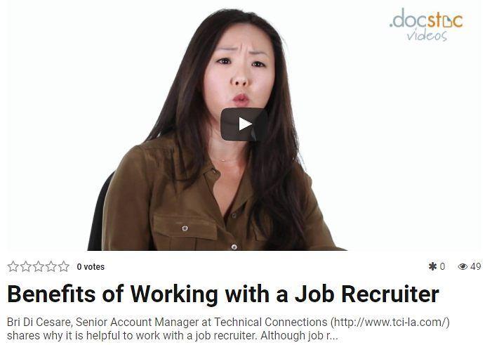 VideoAlert Benefits of Working with a Job Recruiter Bri Di Cesare