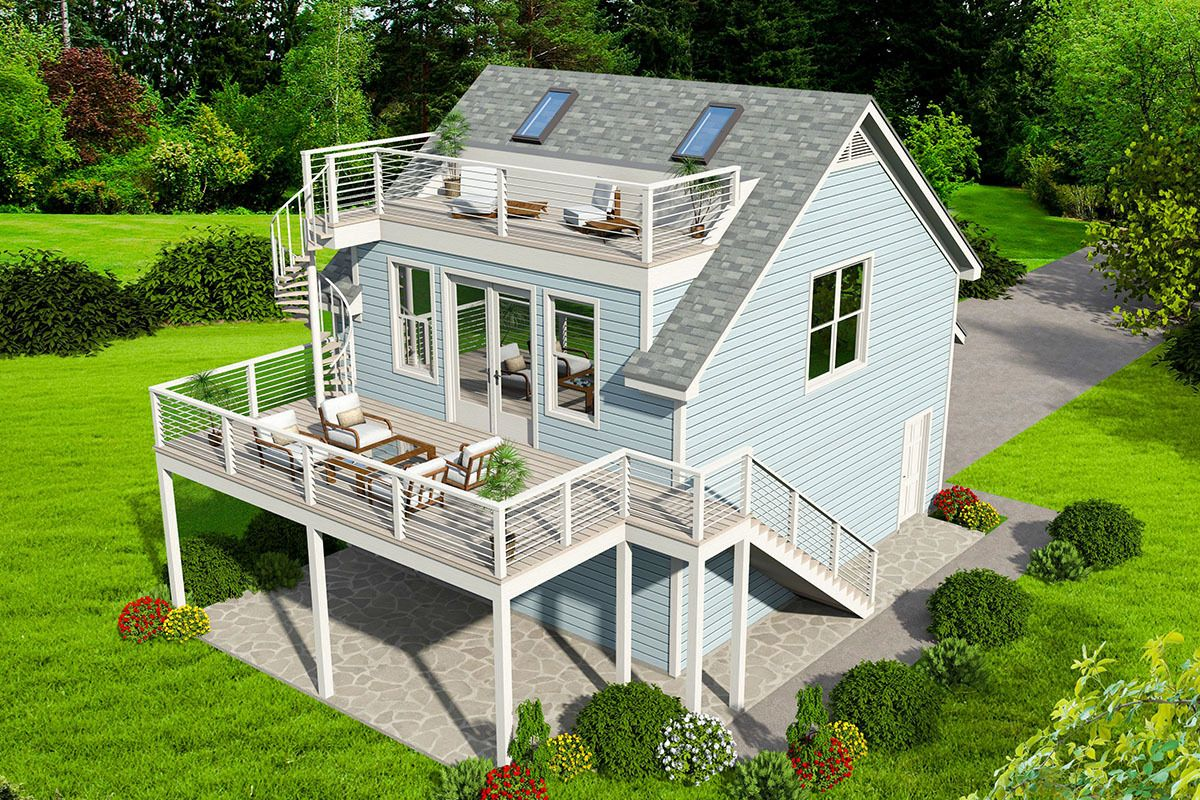 Plan 68575VR: Detached Carriage House with Sun Deck