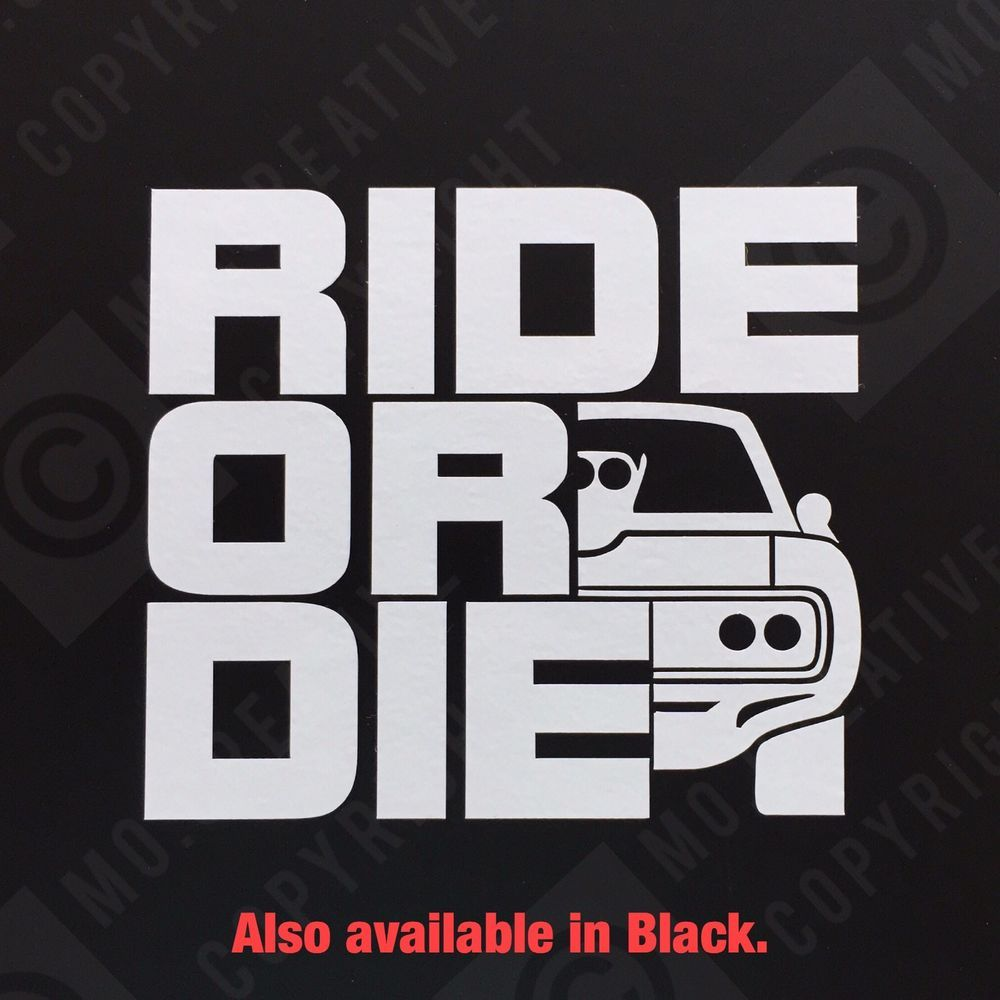Ride or die fast and furious car vinyl bumper sticker window decal funny