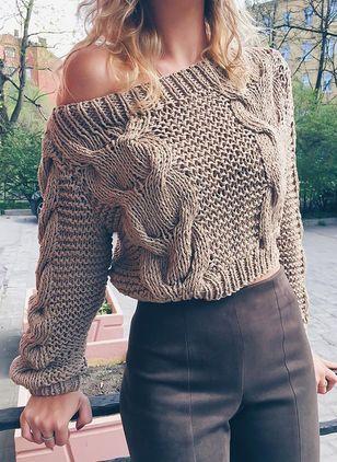 Photo of Oblique Neckline Solid Loose Short X-line Sweaters