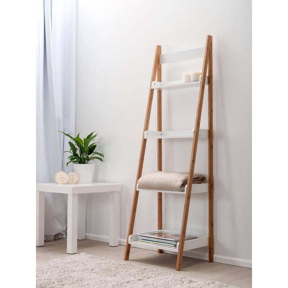 Stylish Ladder Shelves Ikea with Chic Simple Ladder Shelf In Room, Delicate  Blanket On Shelf - Stylish Ladder Shelves Ikea With Chic Simple Ladder Shelf In Room