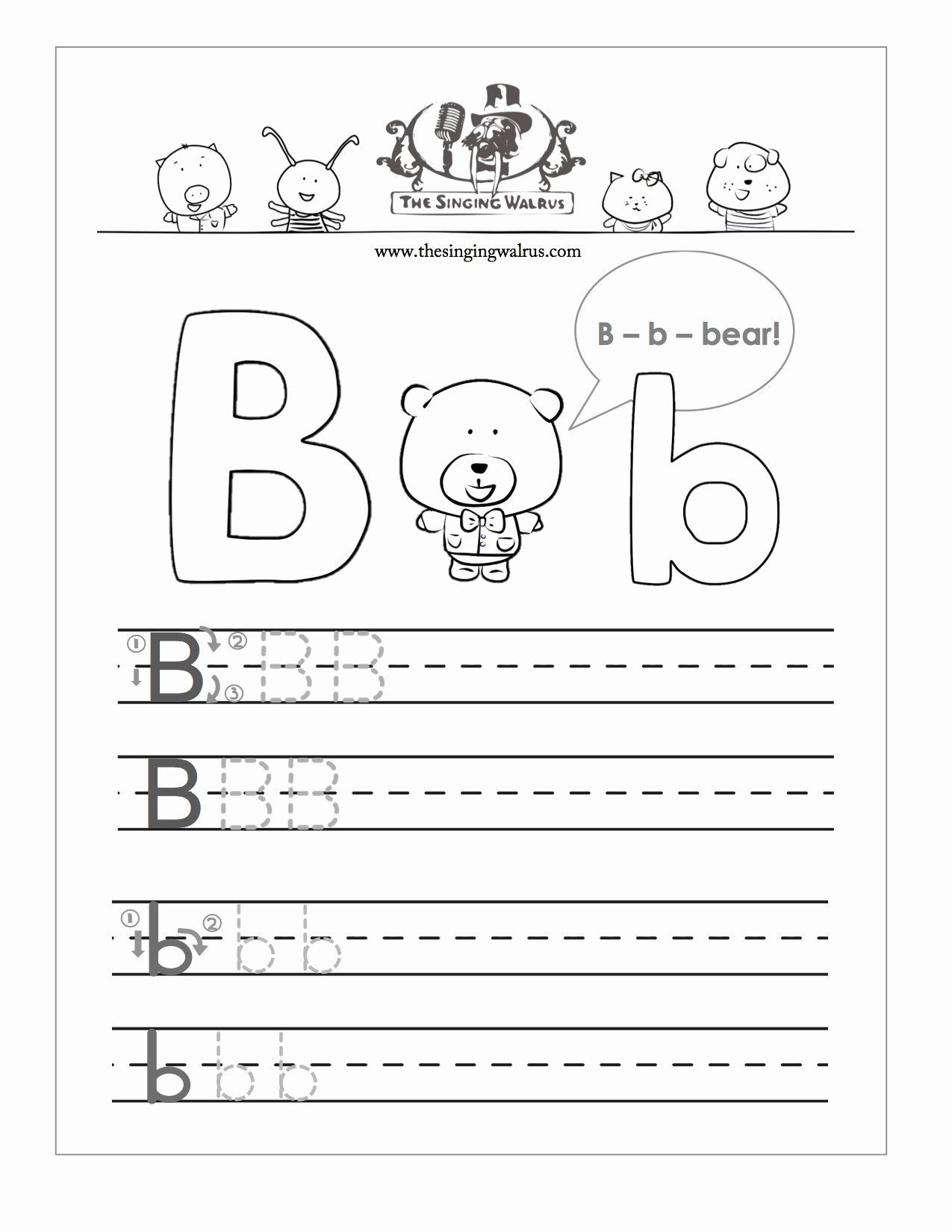 Letter B Printable New Free Handwriting Worksheets For The