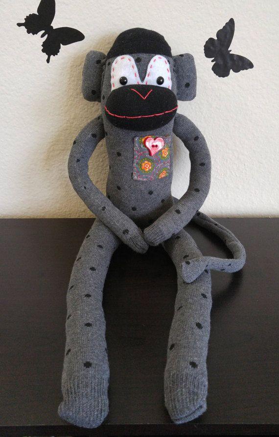 Sock Monkey  Dottie The Message Monkey by MessageMonkeys on Etsy
