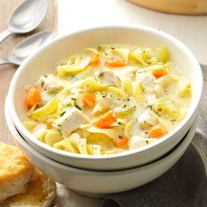 """Soupy Chicken Noodle Supper Recipe -At least once a week my six-year-old son, also known as Doctor John, hands me a """"prescription"""" for chicken noodle soup. Needless to say, I'm always happy to fill it. —Heidi Hall, North St. Paul, Minnesota"""