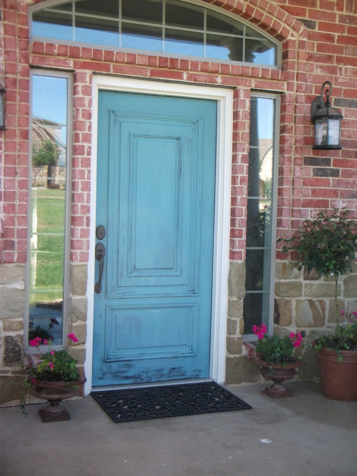 Annie Sloan Chalk Paint 5 Parts Greek Blue 1 Part Antibes Green My Italian Azure House Paint Exterior Green House Paint Exterior Painted Doors