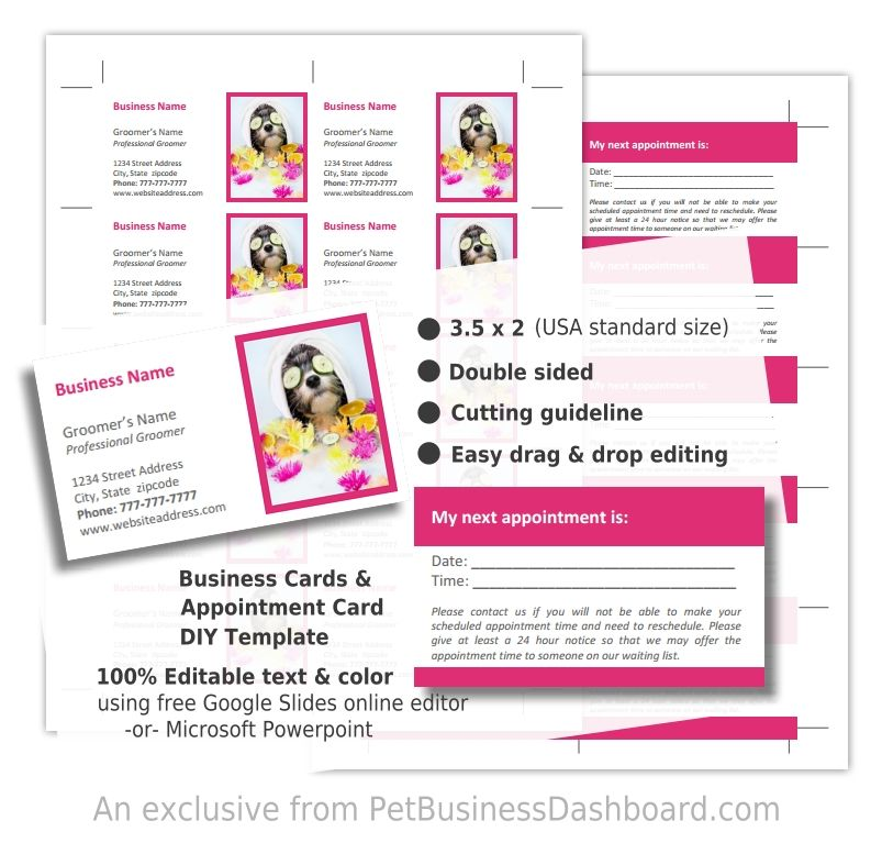 DIY Dog Grooming Business Cards Template - Pet Business Dashboard ...