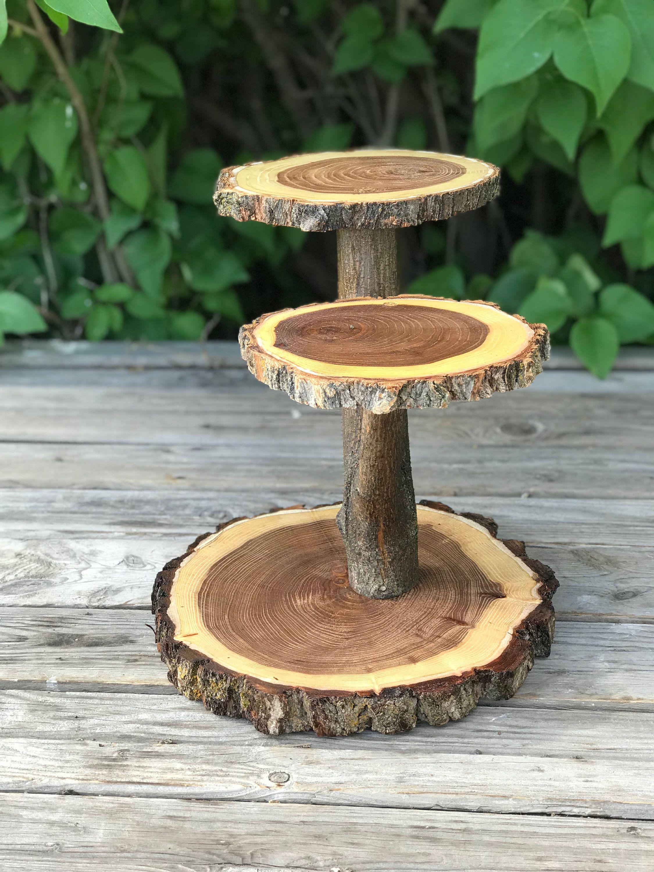 Large Log Elm Wood Rustic Cake 30 Cupcake Stand Wedding
