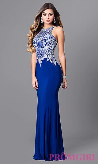 8e4d182db4c High-Neck Prom Dress with Beaded-Embroidered Bodice in 2019
