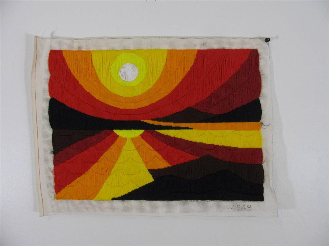 Mid Century 70s Textile Art Embroidery Pop Op Bold Sun Rise Wall Hanging   eBay