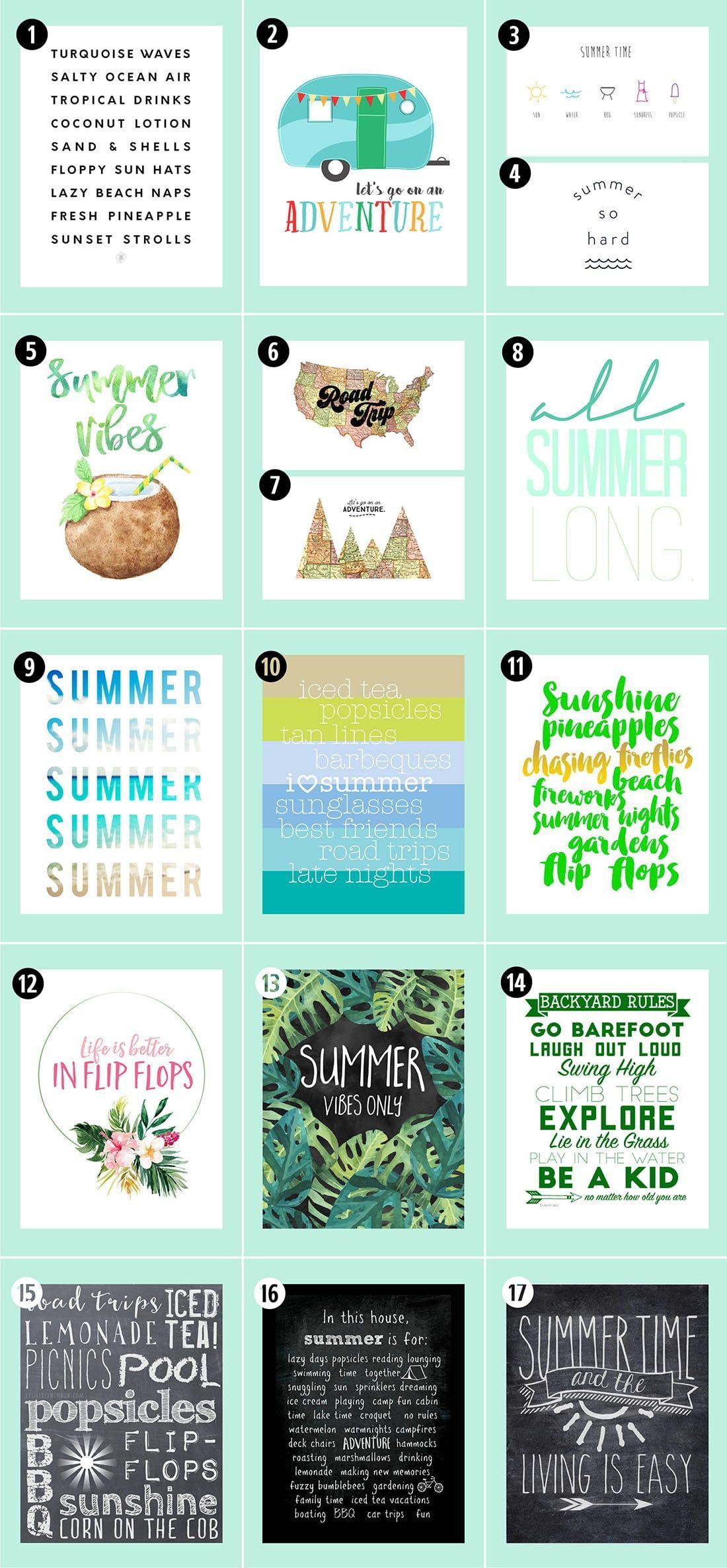 Roundup 38 Free Summer Printables