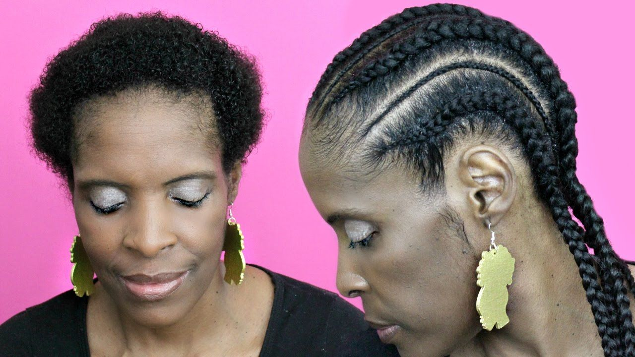 Feed In Cornrows With Extensions On Short Hair Natural Hair Twa