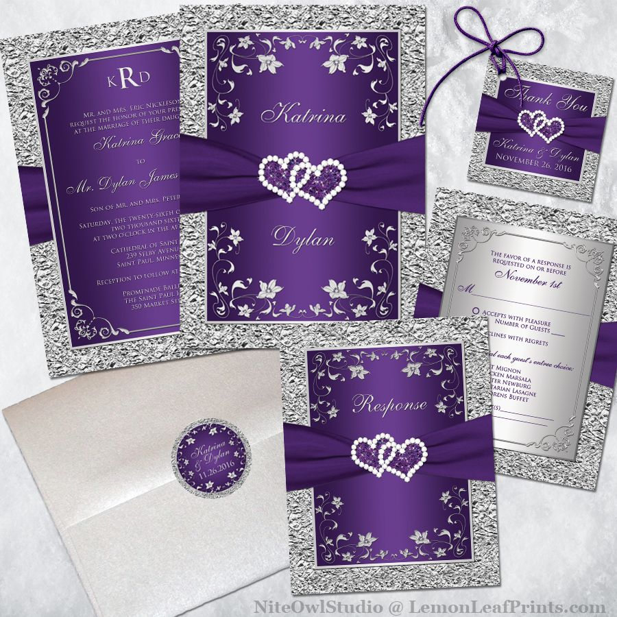 Monogrammed Wedding Invitation Purple Silver Floral Faux Foil Printed Ribbon Joined Hearts Monogram Wedding Invitations Purple Wedding Invitations Purple And Silver Wedding