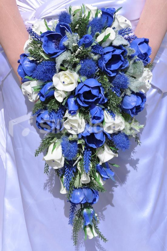 Scottish Inspired Royal Blue Anemone Heather Thistle And White