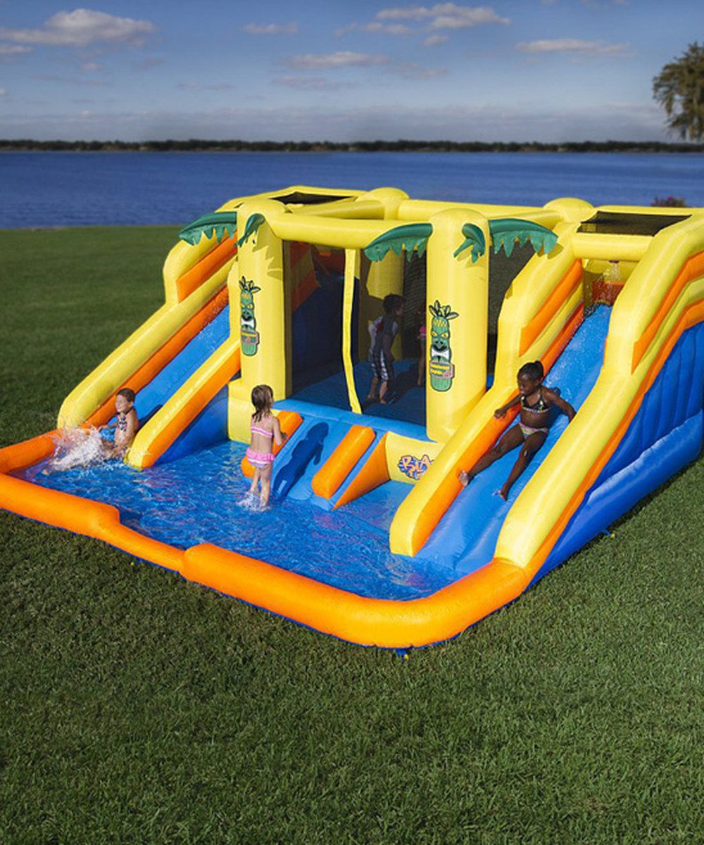 look at this blast zone rain forest rapids inflatable bouncer