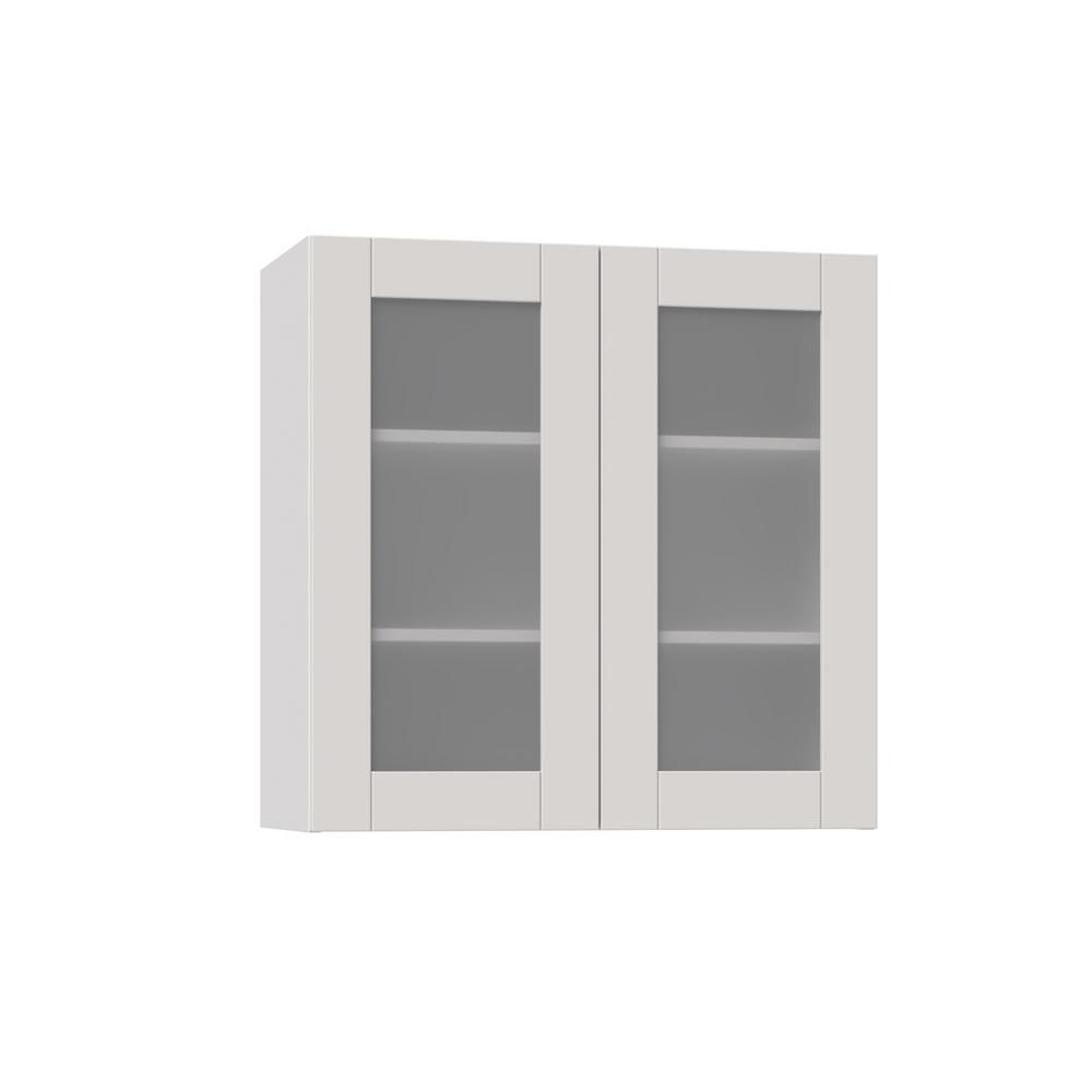 Magick Woods Shaker Assembled 30x30x14 In Wall Cabinet With Frosted Glass Doors In Vanilla White Glass Cabinet Doors Cabinet Door Storage Frosted Glass Door