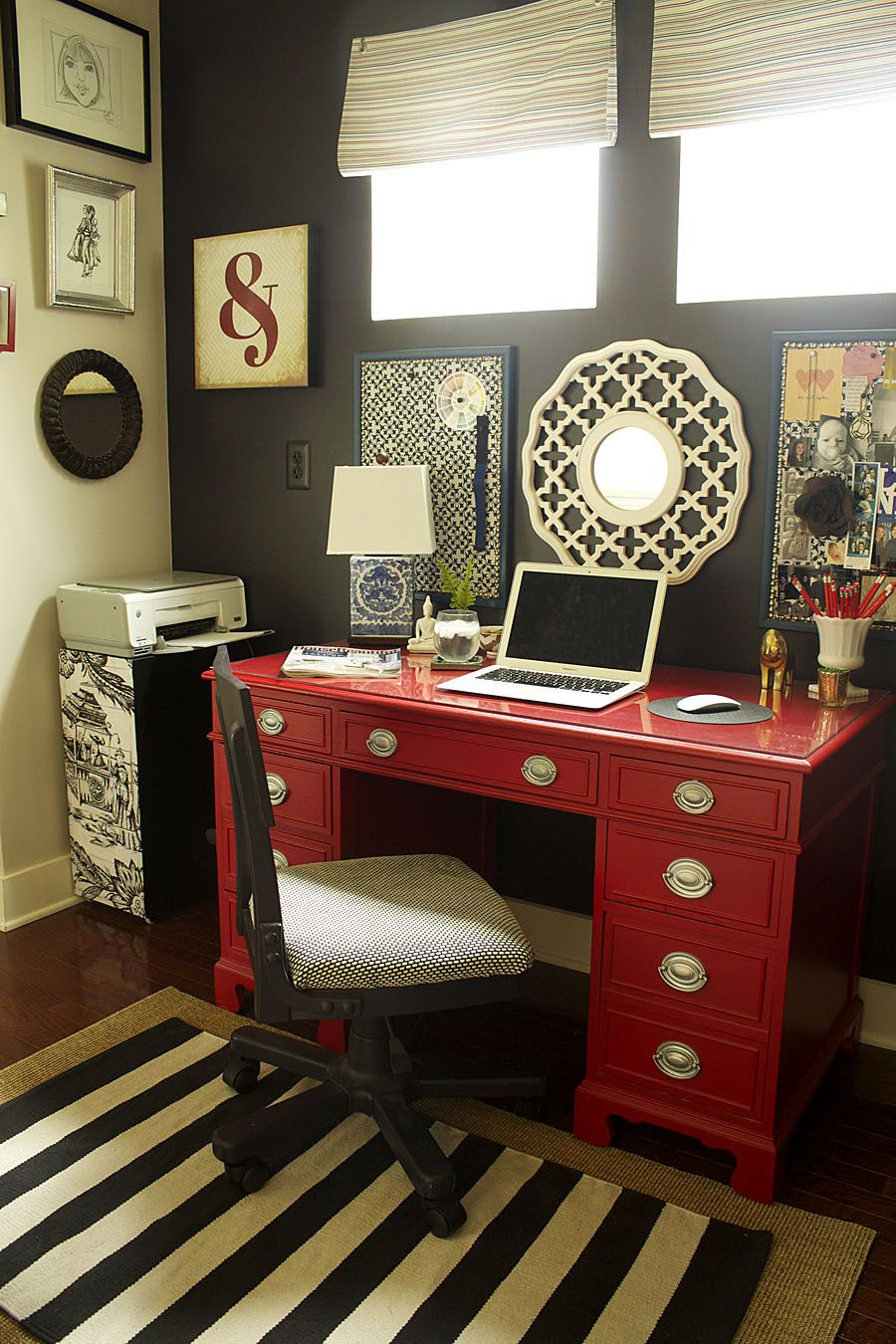 pottery barn home office ideas   rug is from Pottery Barn and