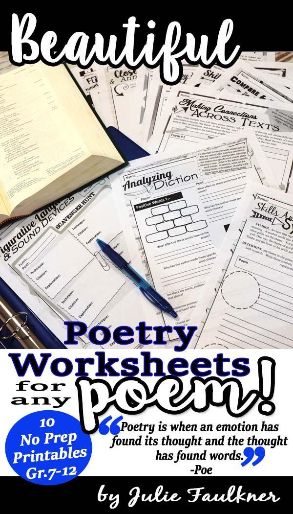 poetry worksheets analysis comprehension for any poem no prep high school english language. Black Bedroom Furniture Sets. Home Design Ideas