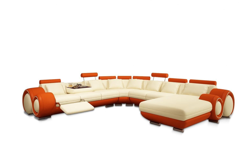 Vig Furniture 4084 Modern Cream And Orange Leather Sectional Sofa Vgev4084 5 Sectional Sofa Modern Sofa Sectional Leather Sectional #orange #leather #living #room #sets