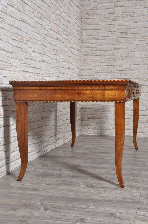 Tavolo Antico Allungabile Veneto.Tavolo Scrittoio In Stile 700 Asolano Veneto Intarsiato In Noce