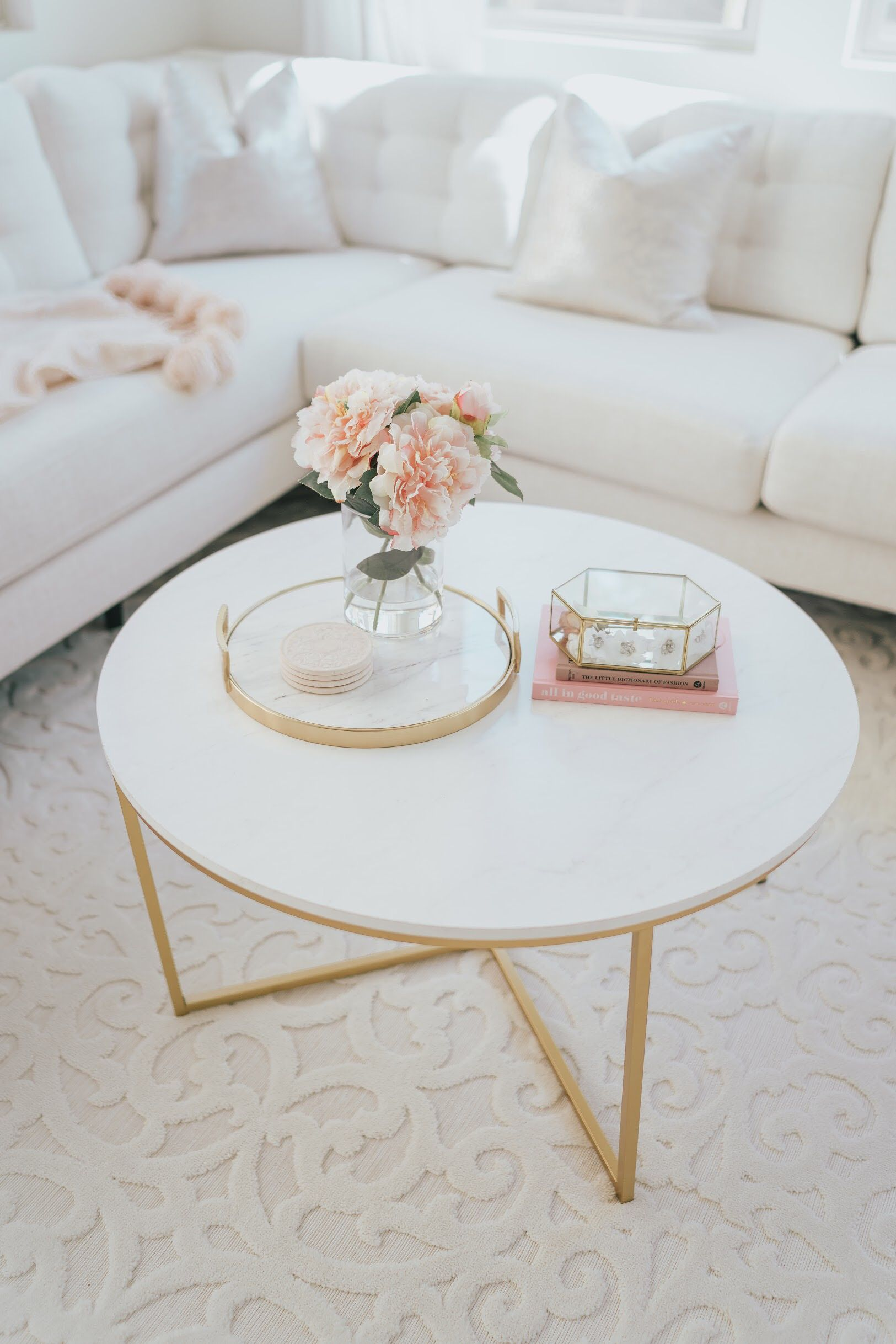 Gold Marble Coffee Table A Touch Of Pink Blog Coffee Table Living Room Coffee Table Farmhouse Rugs