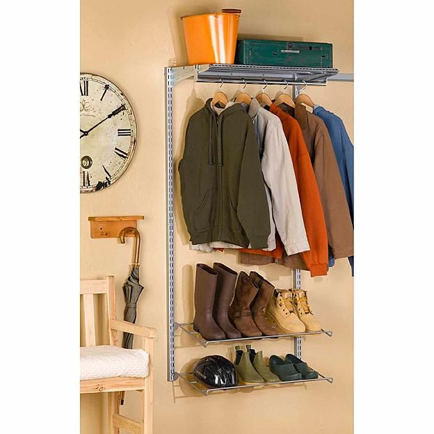 Storability 33 In. L x 63 In. H Garment Wall Mount Storage System with Wire Shelf, (2) Shoe Racks, Clothes Rack & Hardware