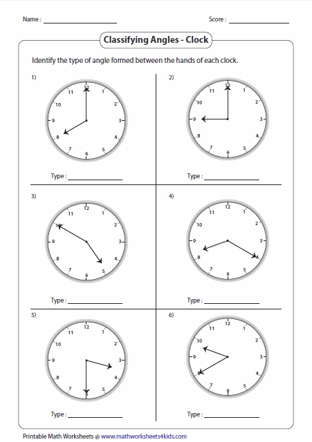 Clocks And Hands Angles Worksheet Classifying Angles Types Of Angles