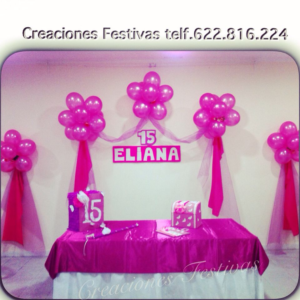 Decoraci n 15 a os en fucsia decoraci n con globos y for Decoracion quince anos