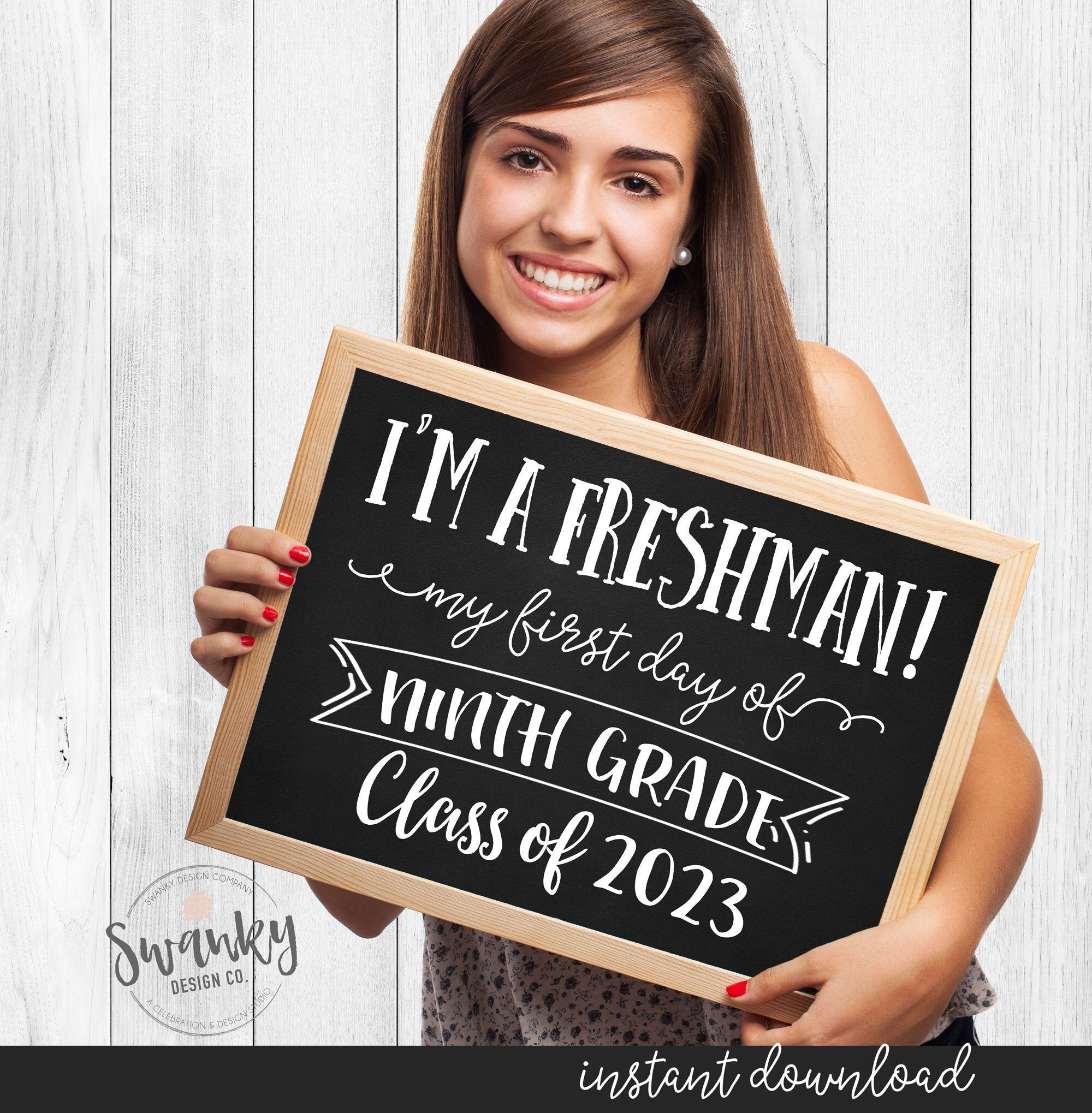 First Day of High School Sign, Printable First Day of Freshman Year, First Day of 9th Grade, First Day of School Chalkboard, Freshman Year #firstdayofschoolsign