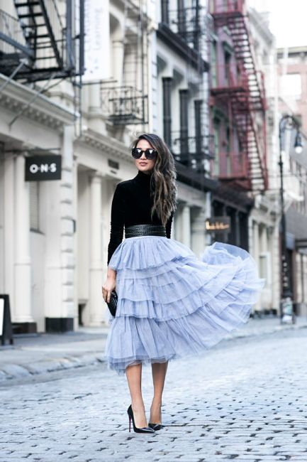 OOTD | Baby Blue Tulle Skirt | Black Turtle Neck | Outfit | Outfit Ideas | Style | Blogger | Fashion | Fashionista | Street Style