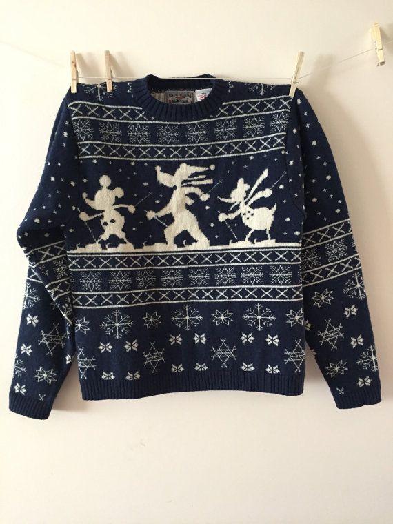 Disney Ski Sweater Vintage 1990s Norwegian Style by Reneesance