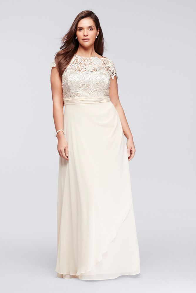 Cap Sleeve Lace Long Plus Size Mesh Mother Of Bridegroom Dress