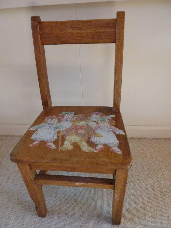 Childs Oak School Chair Mid Century By BonniesVintageAttic On Etsy, $50.00