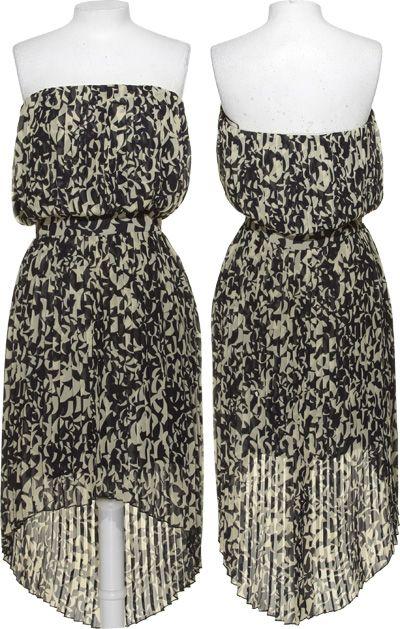 LAVENDER BROWN Pleated Art Deco Print Strapless Dress