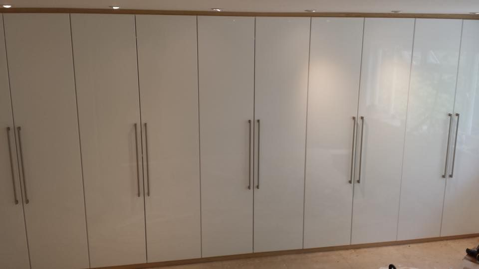 Gloss White Doors With Oak Surround Made To Measure Wardrobes Are Our Speciality At Very Competitive Prices Made To Measure Wardrobes House Prices White Doors