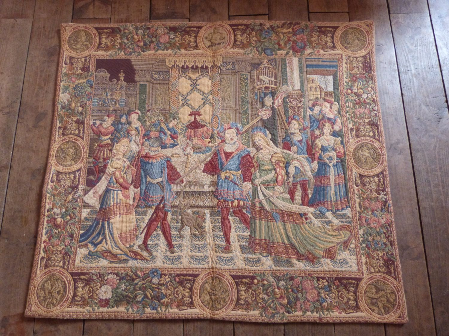 vintage french tapestry wall hanging art decor 1900s chateau wall vintage french tapestry wall hanging art decor chateau wall tapestry woven w medieval castle theme decor french home decor tapestries by myfrenchantiqueshop