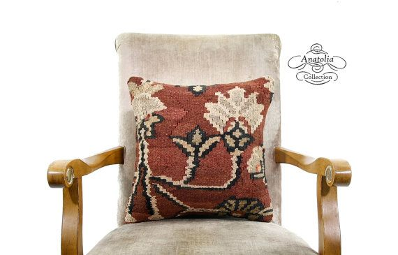 KILIM ART FLORAL Brown Vintage Turkish Kilim by AnatoliaCollection