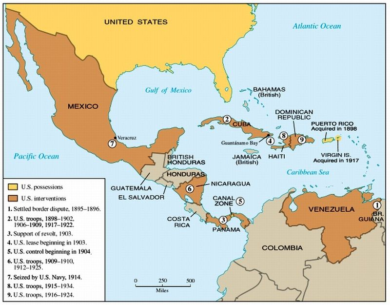 US Interventions Map Early S Latin America Pinterest - Us imperialism world map caribbean area latin america asia