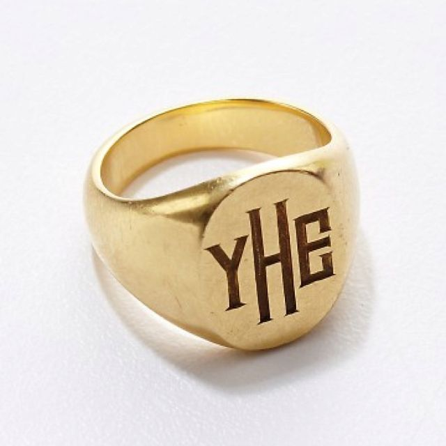 Monogram yellow gold signet ring
