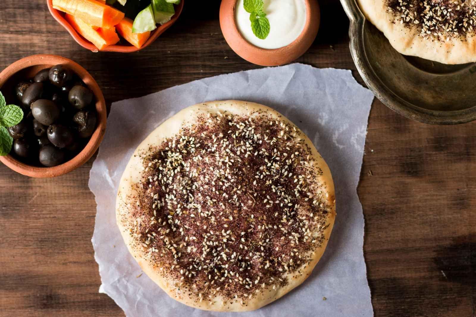 Manakish Zaatar Traditional Lebanese Spiced Pita Bread