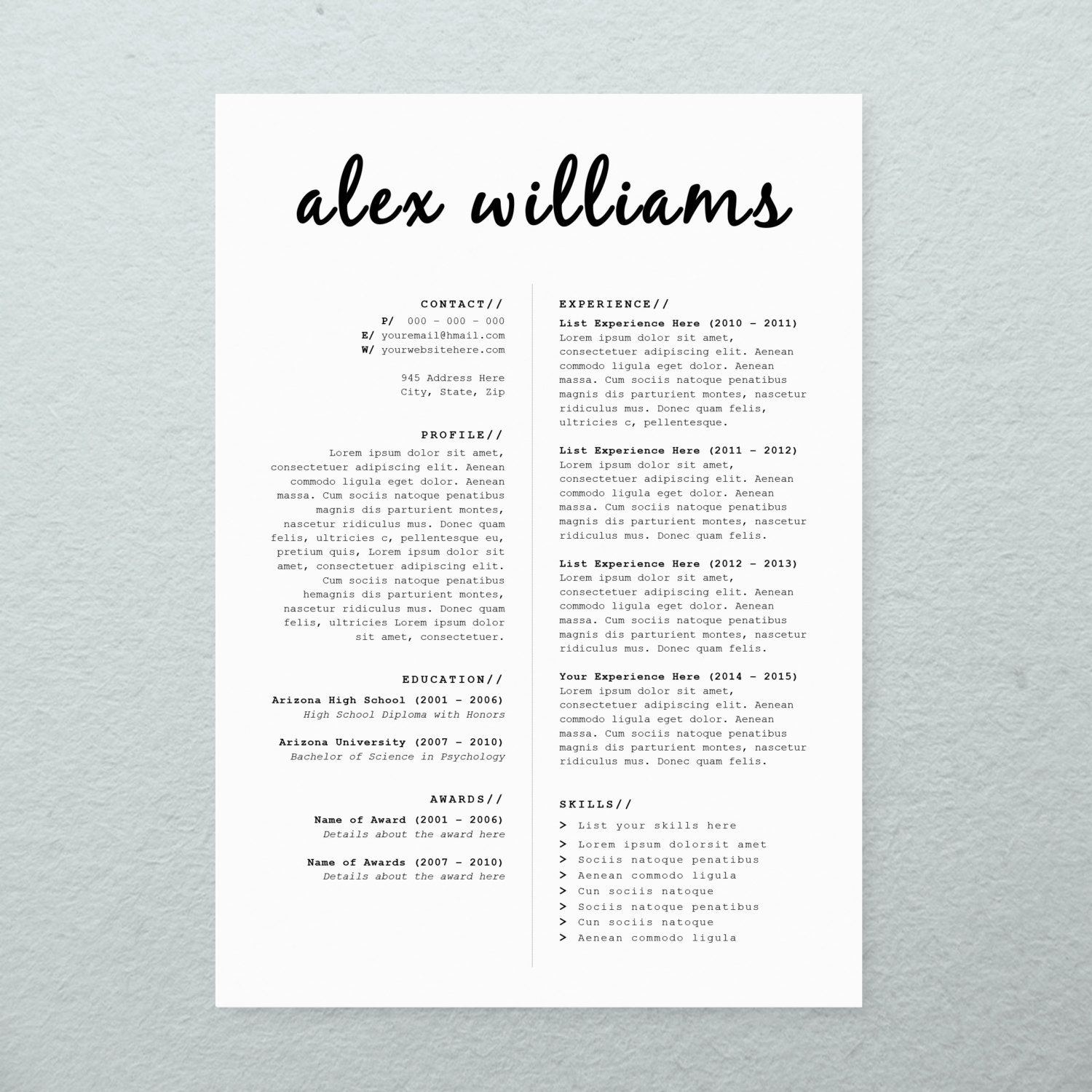 cv design cover letter printable resume by brandconceptco