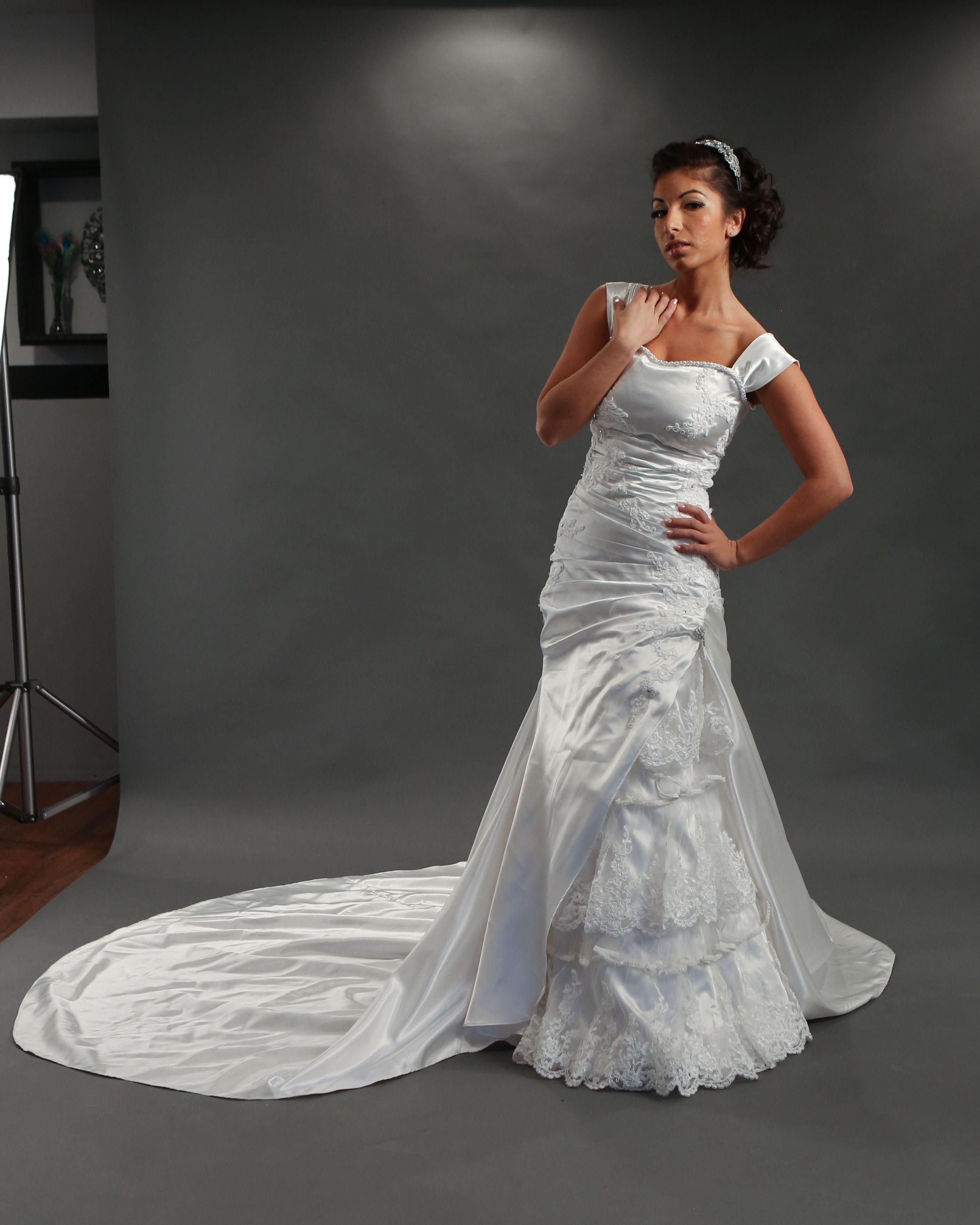 """Melanie"" Spanish style wedding dress in satin and hand"