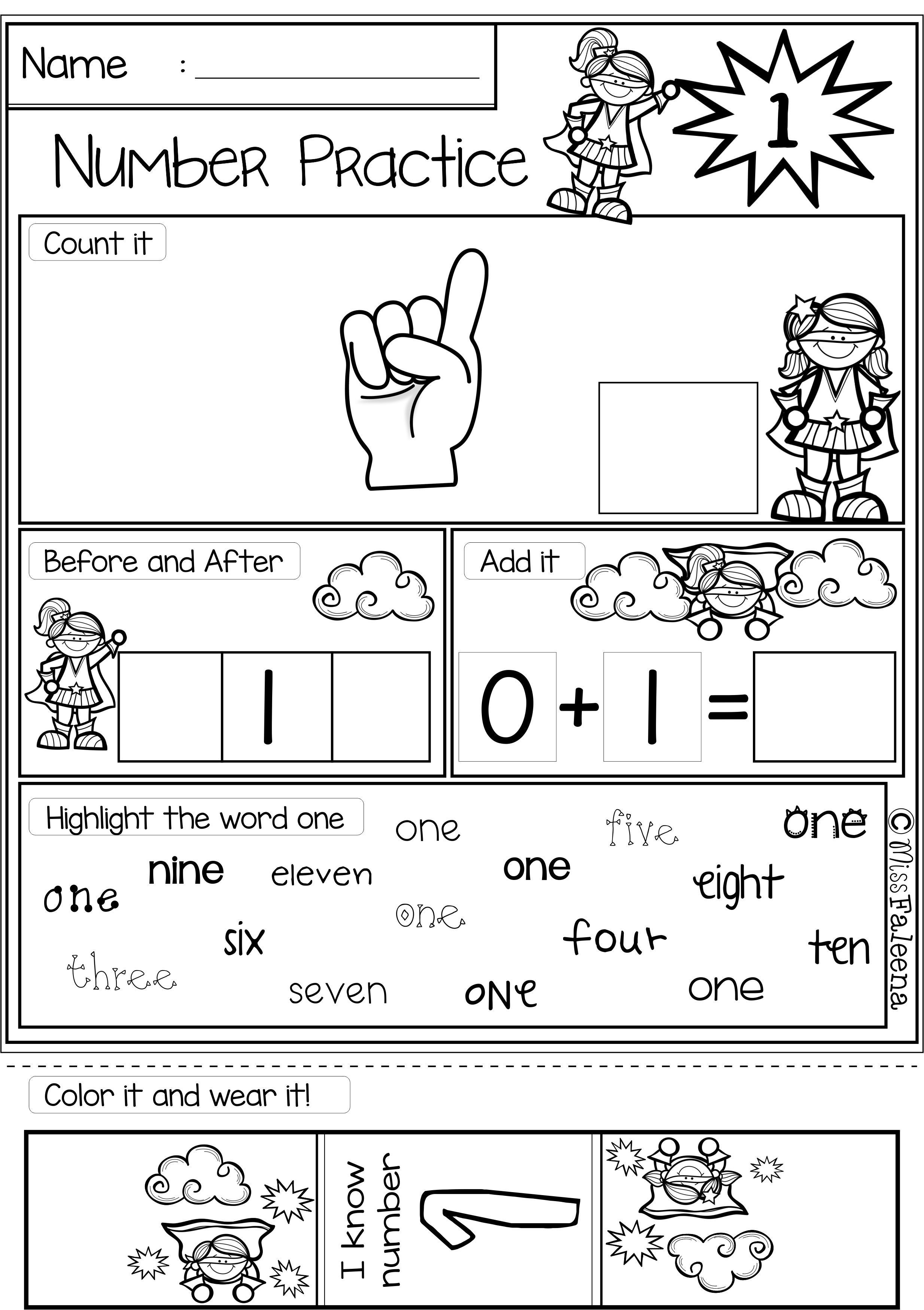 Number 1-20 Practice (Set 2) | Number words, Worksheets and ...