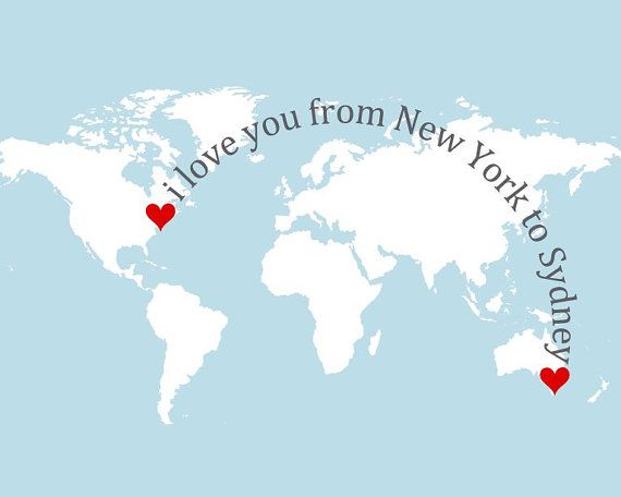 World map modern minimalist poster minimal home decor grey i love you from here to there shown with new york to sydney custom made long distance map picture usa or world map with hearts mini art print gumiabroncs Choice Image
