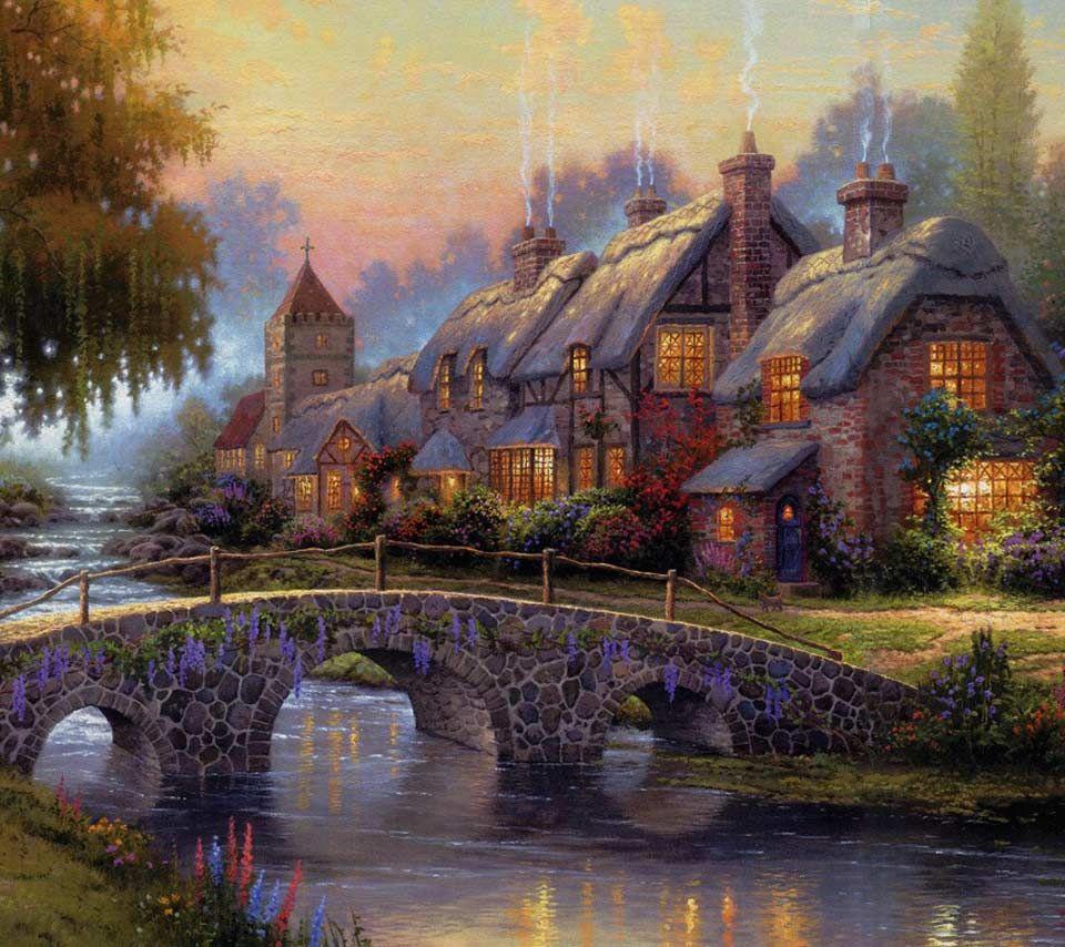 thomas kinkade cottages Thomas Kinkade Oil Painting