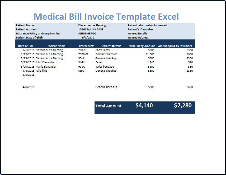 Medical Bill Invoice Template Excel Pdf Word Xlstemplates Medical Billing Invoice Template Medical