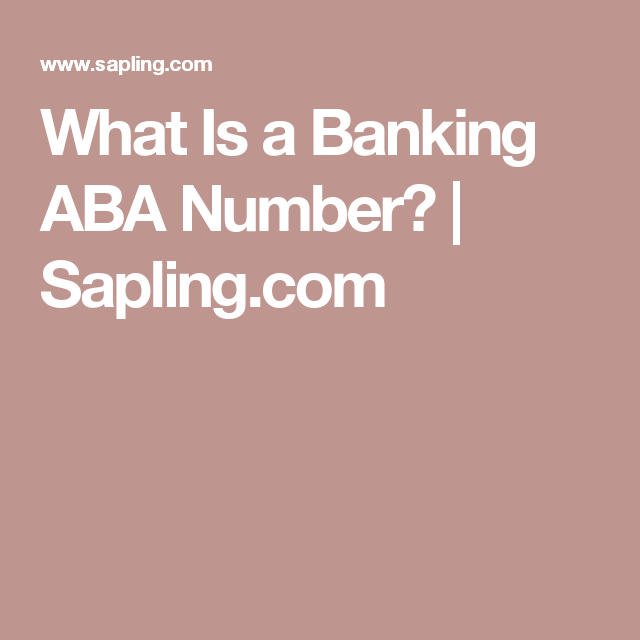 What Is a Banking ABA Number Aba, Banking, Saplings